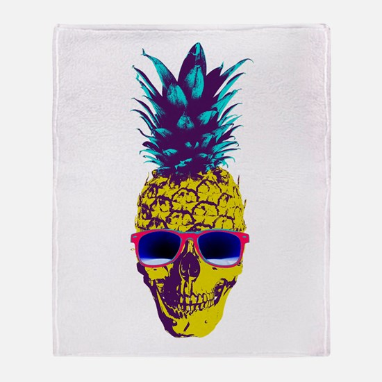Pineapple Skull Throw Blanket
