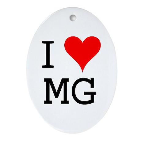 I Love MG Oval Ornament