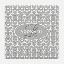 Gray White Anchors Monogram Tile Coaster
