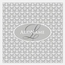 Gray White Anchors Monogram Invitations