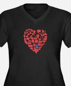 Idaho Heart Women's Plus Size V-Neck Dark T-Shirt