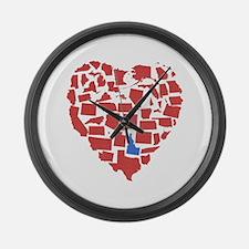 Idaho Heart Large Wall Clock