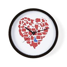 Idaho Heart Wall Clock