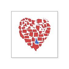 """Idaho Heart Square Sticker 3"""" x 3"""""""