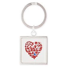 Idaho Heart Square Keychain