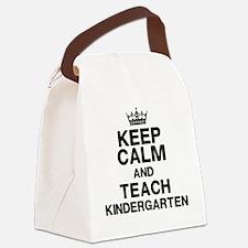 Keep Calm Teach Kindergarten Canvas Lunch Bag