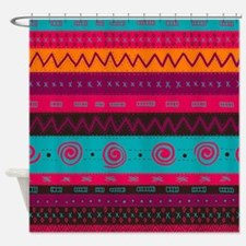 Aztec Kicks Pattern Shower Curtain