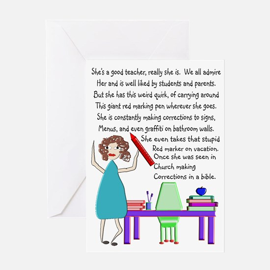Teacher Red Marker Greeting Cards