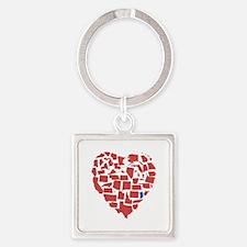 Indiana Heart Square Keychain