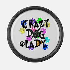 Crazy Dog Lady Large Wall Clock