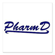 """blue pharmd Square Car Magnet 3"""" x 3"""""""