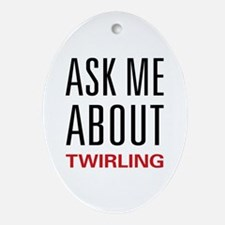 Ask Me About Twirling Oval Ornament