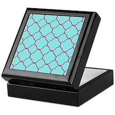 Aqua Quatrefoil Pattern Keepsake Box