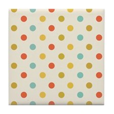 Vintage Colorful Polka Dots Tile Coaster