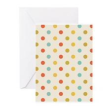 Vintage Colorful Polka Dots Greeting Cards