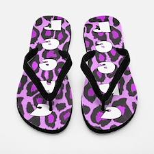 Purple leopard cheerleader Flip Flops