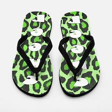 Green Cheerleader Leopard Flip Flops