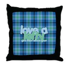 Love a Lefty Plaid Blue Throw Pillow