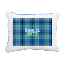 Love a Lefty Plaid Blue Rectangular Canvas Pillow