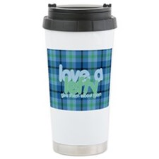 Love a Lefty Plaid Blue Travel Mug
