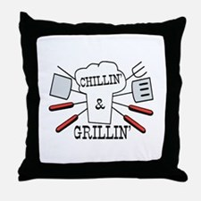 Chillin & Grillin BBQ Fun Throw Pillow