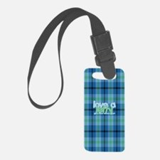 Love a Lefty Plaid Blue Luggage Tag