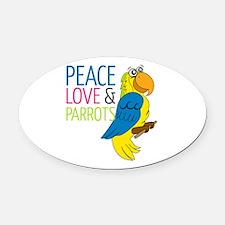 Peace Love Parrots Oval Car Magnet