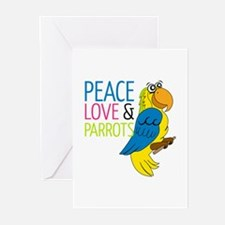 Peace Love Parrots Greeting Cards