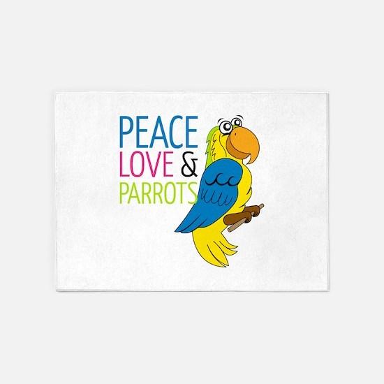 Peace Love Parrots 5'x7'Area Rug
