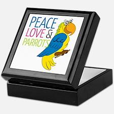 Peace Love Parrots Keepsake Box