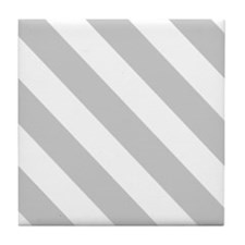 Grey Diagonal Stripes Tile Coaster
