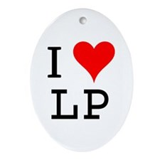I Love LP Oval Ornament