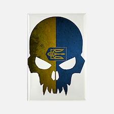 Ukraine Flag Skull Rectangle Magnet