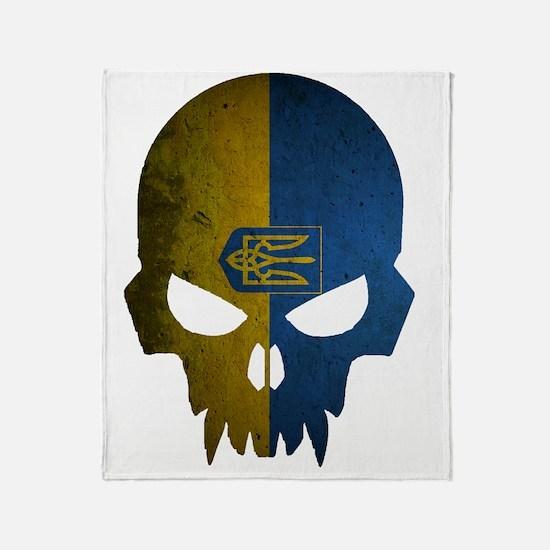 Ukraine Flag Skull Throw Blanket