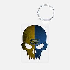 Ukraine Flag Skull Keychains