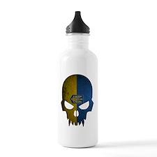 Ukraine Flag Skull Sports Water Bottle
