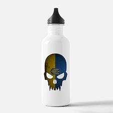 Ukraine Flag Skull Water Bottle