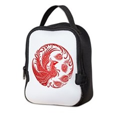 Traditional Red Phoenix Circle Neoprene Lunch Bag