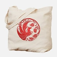 Traditional Red Phoenix Circle Tote Bag