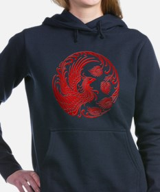 Traditional Red Phoenix Circle Women's Hooded Swea