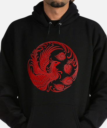 Traditional Red Phoenix Circle Hoodie