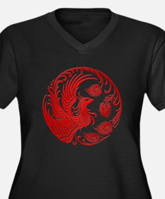 Traditional Red Phoenix Circle Plus Size T-Shirt
