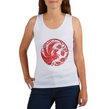 Traditional Red Phoenix Circle Tank Top