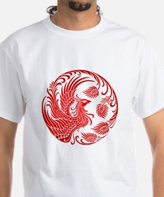 Traditional Red Phoenix Circle T-Shirt