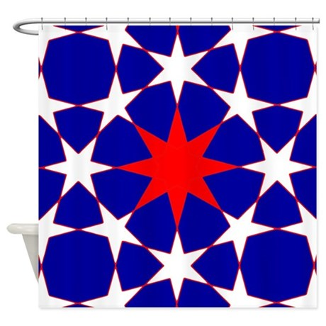 Red And White Stars On Blue Shower Curtain By 64colorliving