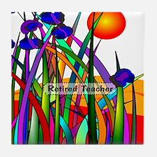 Retired Teacher Artsy Plants LARGE Tile Coaster