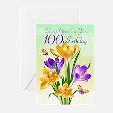 100th Birthday Crocus Greeting Cards (pk Of 10)