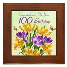 100th Birthday Crocus Framed Tile