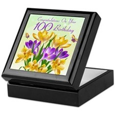 100th Birthday Crocus Keepsake Box