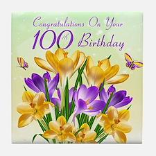100th Birthday Crocus Tile Coaster